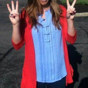 Lauren Conrad Blue Bow Button Up Blouse